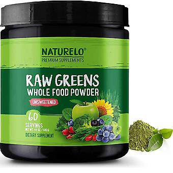 Raw greens powder with grasses, probiotics and superfoods - unsweetened - 60 servings (vegan)