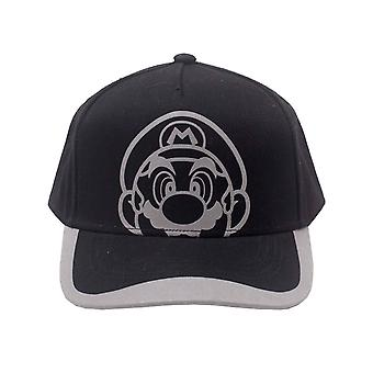 Super Mario Baseball Cap Reflective Print Face Official Curved Bill Snapback