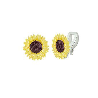 Eternal Collection Sunflower Yellow Enamel Silver Tone Flower Stud Clip On Earrings