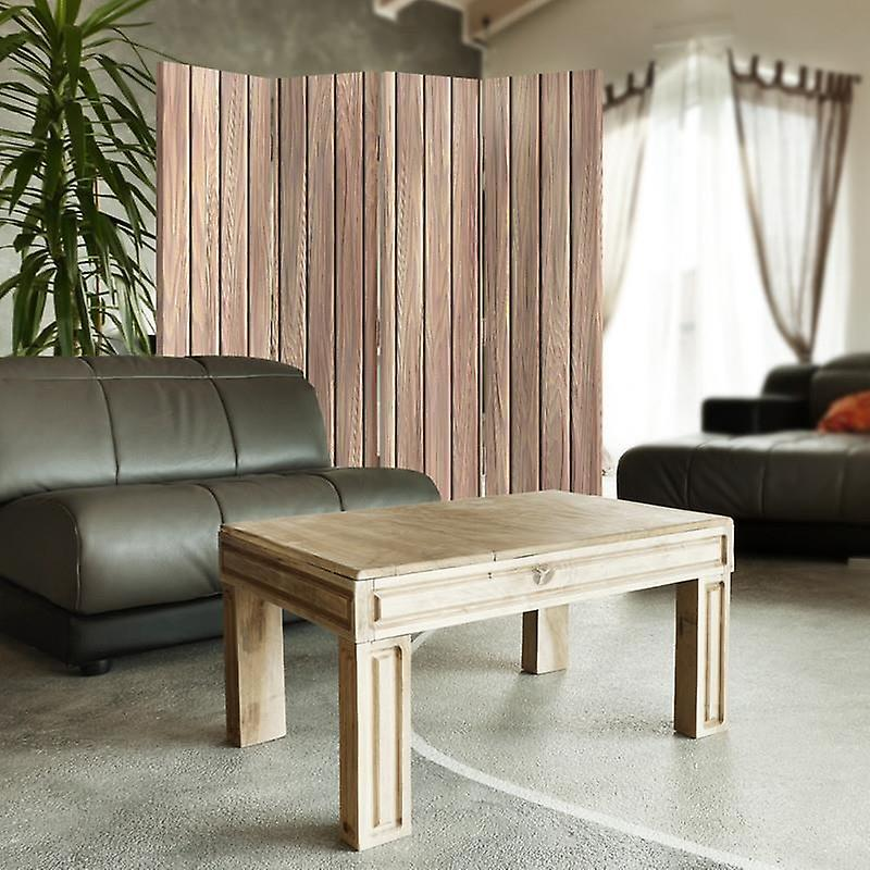 Diviseur de chambre, 4 panneaux, double-face, Rotatable 360, toile, planches de bois