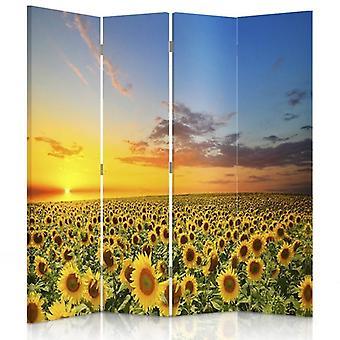 Raumteiler, 4 Paneele, doppelseitig, drehbar 360, Leinwand, Landschaft mit Sonnenblumen