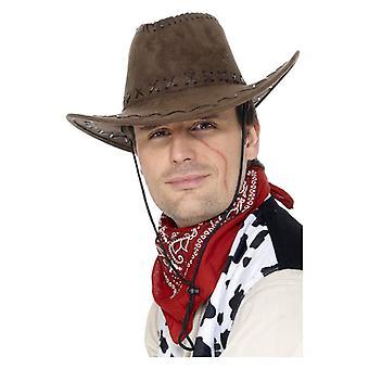 Mens Wildleder Look Cowboyhut Fancy Dress Zubehör