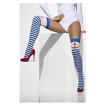 Womens azul e branco listrado opaco mantenha-Ups âncora impressão vestido extravagante acessório