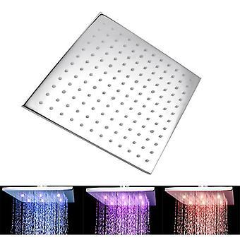 Square Chrome Led Rainfall Shower Head 250mm