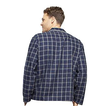 Cyberjammies 6397 Men's Harper Navy Blue Mix Check Cotton Long Sleeve Pijama Üst