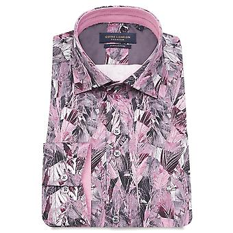 Guide London Pink Leafs Abstract Print Pure Cotton Long Sleeve Mens Shirt