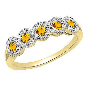 Dazzlingrock Collection 10K Round White Diamond & Citrine Wedding Stackable Band, Yellow Gold