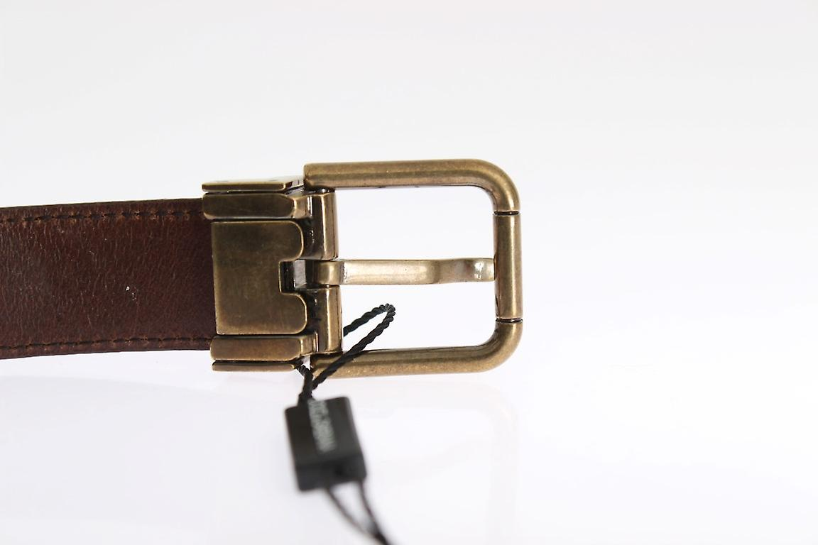 Brown Shiny Grained Leather Gold Buckle Belt