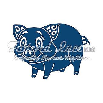 Cochon: dentelle lambeaux métal Die papier carte stephanie Halleman