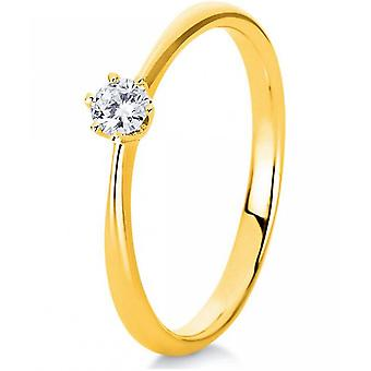Diamantring-18K 750/-gul guld-0,15 CT. Størrelse 54