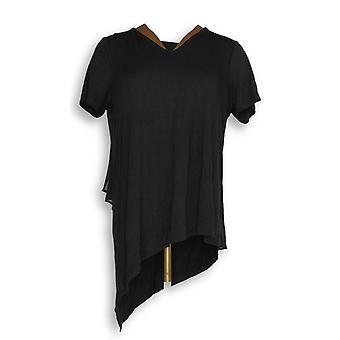 Lisa Rinna Collection Women's Top V-Neck w/ Chiffon Black A303168