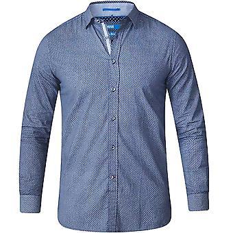 Duke D555 Mens Kermit Geo Print Long Sleeve Big King Size Cotton Shirt Sky/Navy