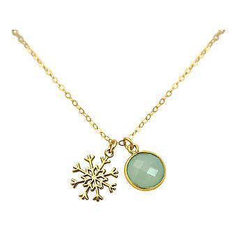 GEMSHINE Halskette SCHNEEFLOCKE 925 Silber oder vergoldet - Chalcedon Meeresgrün