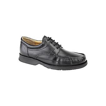 Roamers Dylan Mens Leather Lace Up Apron Shoes Black