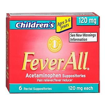 Feverall children acetaminophen suppositories, 120 mg, 6 ea