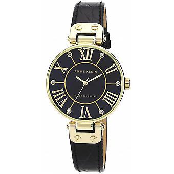 Anne Klein AK-N1396BMBK Watch-svart skinn armbånd bo tier aluminium dor kvinner