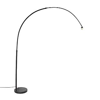 QAZQA Modern Arc Lampe XXL Schwarz mit Marble Base