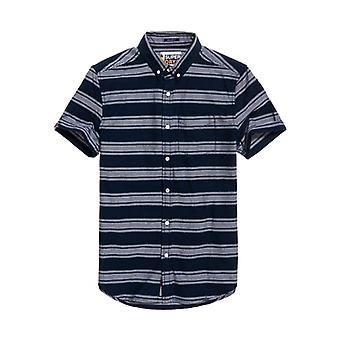 Superdry Academy Segel S/S Shirt Navy Stripe QB6