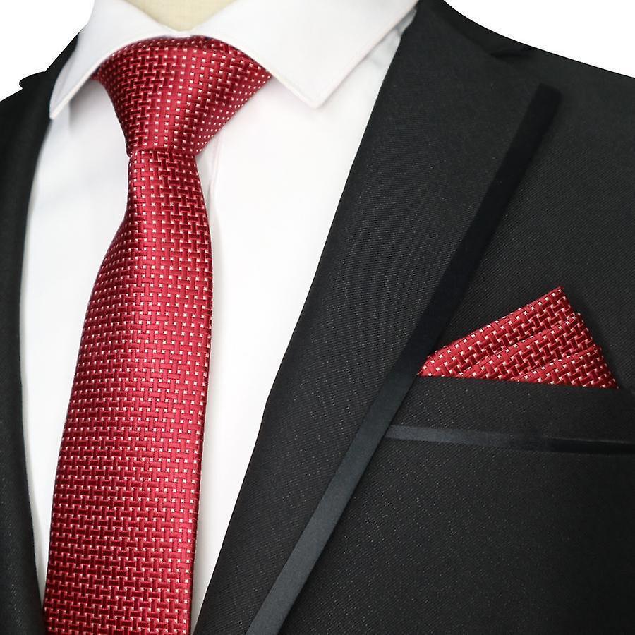 Red cross stitch pattern necktie tie & pocket square set