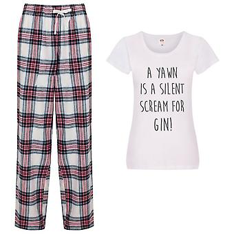 Ladies A Yawn Is A Silent Scream For Gin Tartan Trouser Pyjamas