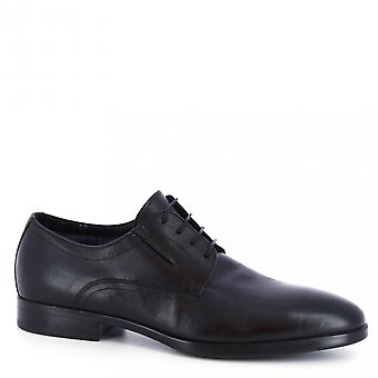 Leonardo Shoes Men-apos;s chaussures oxfords chics faites à la main en cuir de chèvre noir