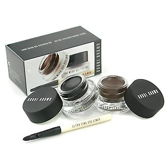Bobbi Brown Long Wear Gel Eyeliner Duo: 2x Gel Eyeliner 3g (black Ink Sepia Ink) + Mini Ultra Fine Eye Liner Brush - 3pcs
