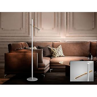 Schuller Varas - LED floor lamp of 2 lights. Made of metal, bright gold and matt white finish. Opal acrylic diffuser. 10W LED, 900 lm, 3000 K. G plug type (UK). - 373614UK