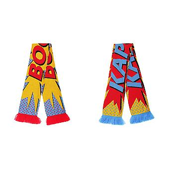 FLOSO Unisex Comic Print Knitted Winter Scarf With Fringe
