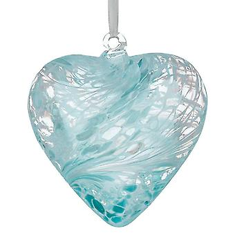 Sienna Glass 8cm Friendship Heart, Pastel Blue