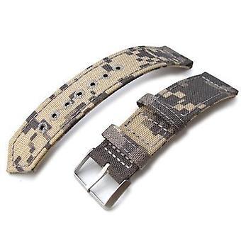 Strapcode fabric watch strap 20mm, 21mm or 22mm miltat ww2 2-piece beige camouflage cordura 1000d watch band with lockstitch round hole, sandblasted