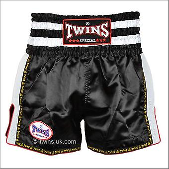Twins special retro muay thai shorts - black white