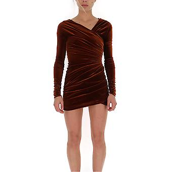 Alexandre Vauthier 193dr110201931144cinnamon Women's Burgundy Velvet Dress