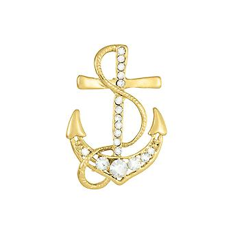 Eeuwige Collectie Gouden Anker Clear Crystal Gold Tone Broche
