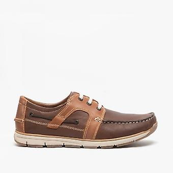 Roamers Sanford Mens Leather Lace Up Moccasin Boat Shoes Brown