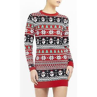 Dappere ziel Womens/dames kerst Fair Isle Stripe Jumper Dress