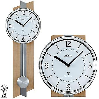 Atlanta 5101 de perete ceas radio radio de perete ceas cu Pendulum Pendulum Ceas lemn în Opik