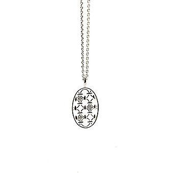 بابيت Wasserman ؟ قلادة الفضة التوائم الاسترليني مع قلادة بيضاوية من 46 سم - الفضة - اللون: الفضة - سمك القد. NS444SI