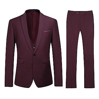 Allthemen Miesten Slim Fit Suit Purple Business rento 3-osainen puku