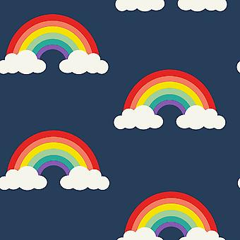 Rainbow Wallpaper Navy Blue / Multi Belgravia Decor 9990