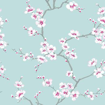 Fresco Apple Blossom Wallpaper Teal Graham and Brown 51-066