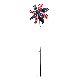 Red White and Blue American Flag Pinwheel Wind Spinner Garden Stake