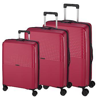 d&n Línea de viaje 4000 Suitcase Set 3 piezas 4 ruedas S-M-L, Rosa
