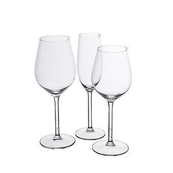 Bicchieri Vignoble Colore Trasparente in Vetro, Calice Vino Rosso L8,5xP8,5xA23 cm, Calice Vino Bianco L7,5xP7,5xA23 cm, Calice Flut L5xP5xA22 cm