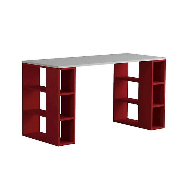 Bureau Colmar Couleur Blanc, Rouge en Puce Melaminique 140x60x75 cm