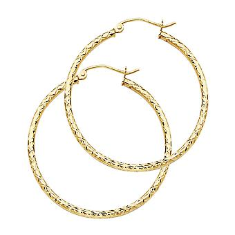 14k Yellow Gold Silk Sparkle Cut 1.5mm Round Tube Hoop Earrings 25mm Jewelry Gifts for Women