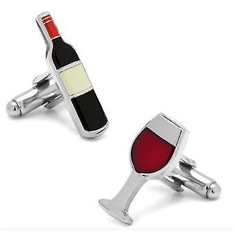 Silver Red Wine Glass Cufflinks Restaurant Present Drink Liquor Cocktail Drunk Pub