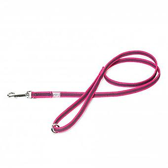 """Julius-K9 Color & Grey Super-Grip Leash Pink-Grey Width (1/2"""" / 14mm) Lenght (4ft / 1.2 m) With Handle and O ring, Max for 66lb/30 kg Dog"""