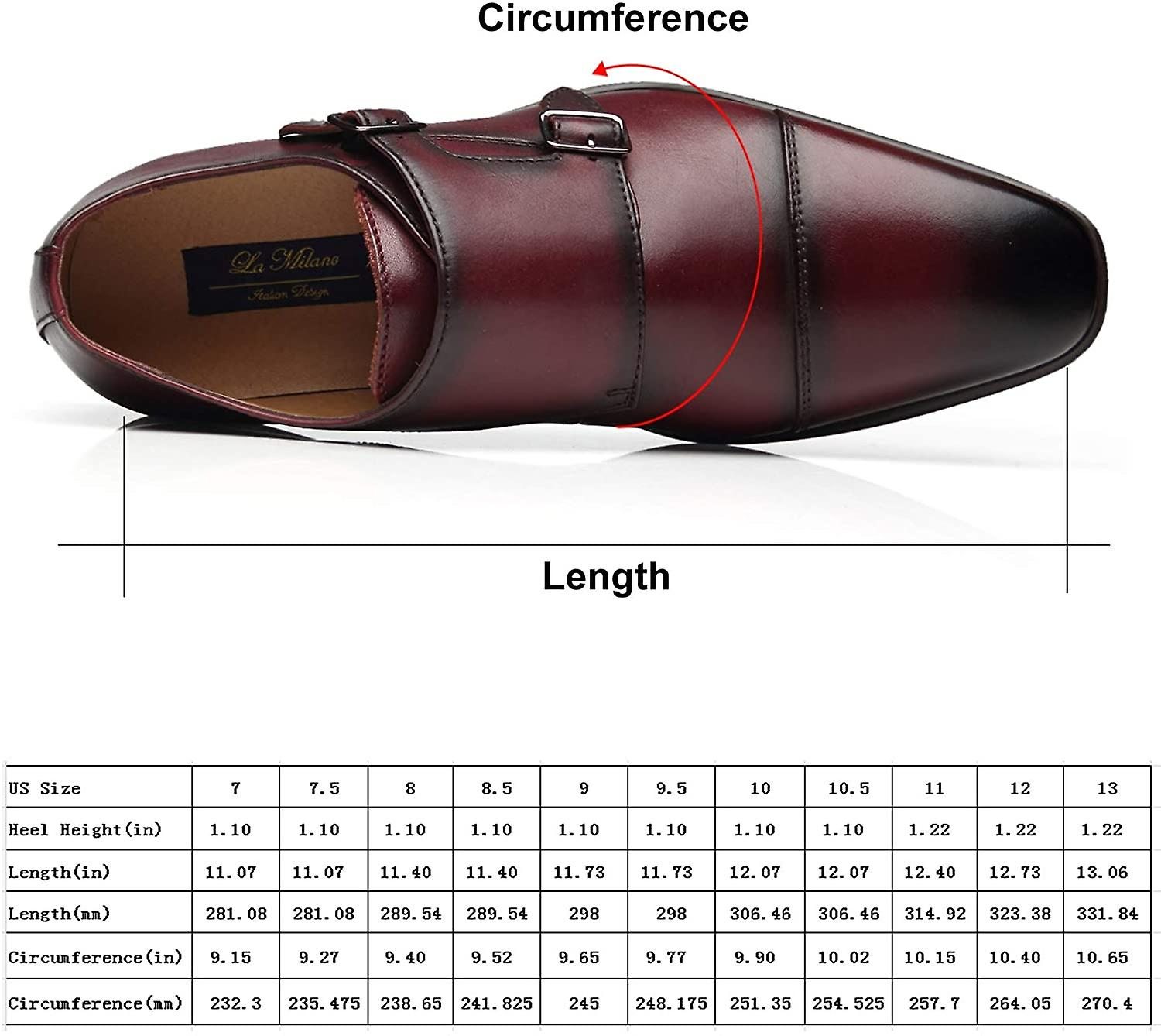 La Milano Mens Double Monk Strap Slip on Loafer Cap Toe Leather Oxford Formal...
