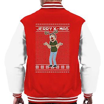 Rick og Morty Christmas Jerry Xmas som rensdyr mænd ' s varsity jakke