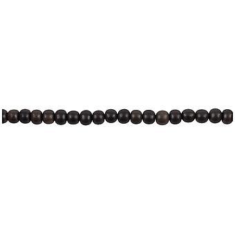 "Tiger Ebony Round Beads 6mm 16""/40cm Strand"